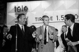 Jacques Sallebert, Steve McQueen et Gilbert Bécaud, 1963