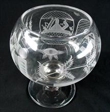 Punch bowl scandinave en verre à décors maçonniques