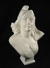 Plâtre peint, buste de Marianne maçonnique par Muhlis Unver, 53 x 40 x 23 cm, 1988.