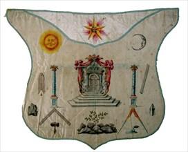 Tablier de Maître du Rite Français, décor au tapis de loge