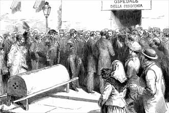 Epidémie de choléra à Naples : les ministres du gouvernement visitent un hôpital