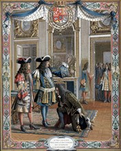 Chromolithograph showing Louis XIV proclaiming duc d'Anjou, his grandson, king of Spain
