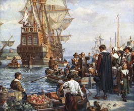 The Pilgrim Fathers boarding the 'Mayflower' for their voyage to America.