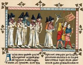 Flagellants chassant la Peste noire, 1349