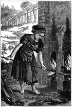 Young girl tending the fire holes of a brick kiln