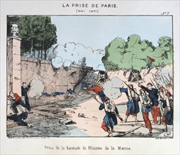 Illustration showing an attack on a barricate during the Paris commune