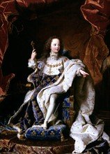 Portrait of King Louis XV of France in  1715 by Hyacinthe Rigaud, 1659-1743