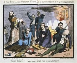 Cartoon by Moloch against  the French politician Louis Adolphe Thiers