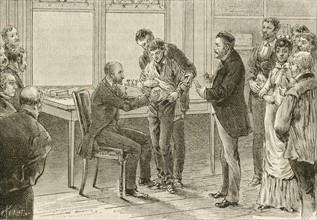 Louis Pasteur watching as a boy bitten by a rabid dog