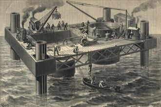 Construction du second pont sur le fleuve Tay en Ecosse - 1883