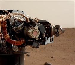 The left eye of the Mast Camera (Mastcam) on NASA's Mars rover Curiosity