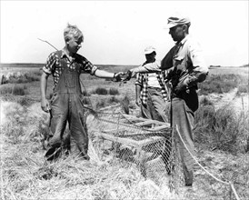 Two adult men with one younger boy working in field.