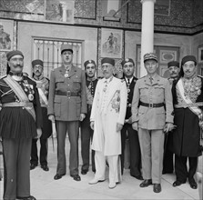 General Charles de Gaulle leader of the Free French forces consulting with the Bey of Tunis in 1943, Tunisia; world war two.