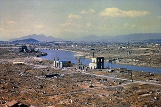 World War Two destruction after the atomic bomb was dropped on Hiroshima 1945