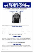 Top Ten Most Wanted notice issued by the FBI for Osama Bin Laden