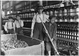 Child labour: Sweeper and doffer boys in Lancaster Cotton Mills, USA 1910