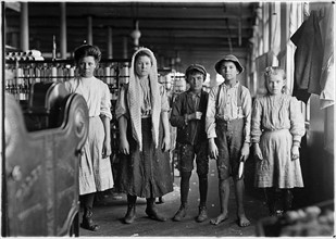 Child Labour: Spinners and doffers in Lancaster Cotton Mills, USA. 1910