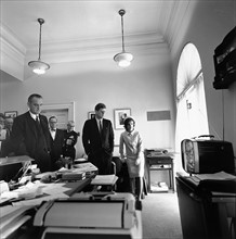 Photograph of President John F. Kennedy and First Lady Jacqueline Kennedy watching flight of Astronaut Alan Shepard
