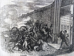 Engraving depicting the death of Daoiz and Velarde