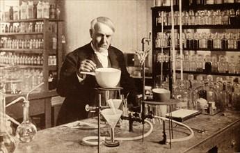 Thomas Edison in his laboratory.
