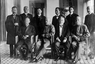 Photograph shows Count Terauchi Masatake with his cabinet.