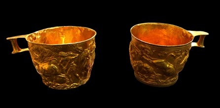 Gold cups with rich spiral decoration