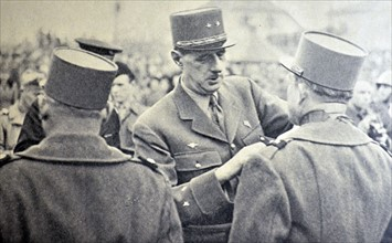 WWII :General Charles de Gaulle arrives at liberated town of Mulhouse 1945