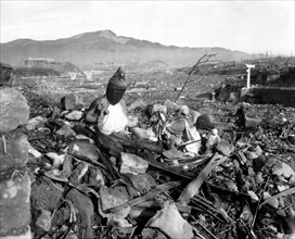 Photograph of a Destroyed Nagasaki Temple