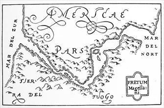 Hondius his map of Magellan strait'.