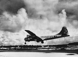 The Enola Gay aircraft dropped an atomic bomb. The bomb at Hiroshima, Japan 1945
