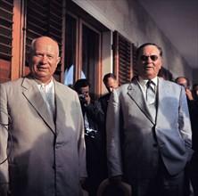 Photograph of President Tito of Yugoslavia and Russian Leader Nikita Khrushchev