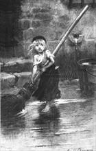 "Emile Bayard, Cosette balayant, gravure illustrant les ""Misérables"" de Victor Hugo"
