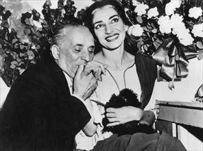 Maria Callas et son mari Giovanni Battista Meneghini, 1956