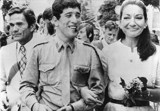 Pier Paolo Pasolini, Maria Callas et Ninetto Davoli en septembre 1969