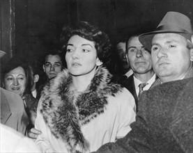 Maria Callas lors de son audience visant à prononcer son divorce, en novembre 1959