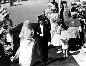 Mariage de Grace Kelly et Rainier III de Monaco en 1956