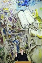 Angela Merkel devant une peinture de Chagall