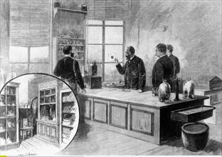Koch, Robert - Bakteriologe, D/ mit Mitarbeitern im Labor