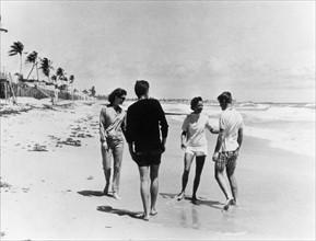John F. Kennedy avec sa femme Jacqueline, son frère et sa soeur