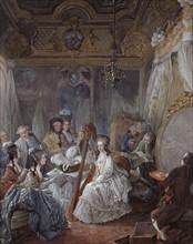 Gautier d'Agoty, Marie-Antoinette jouant de la harpe dans sa chambre à Versailles