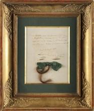 Mèche de cheveux de l'impératrice Joséphine recueillie le jour de sa mort (mai 1814)