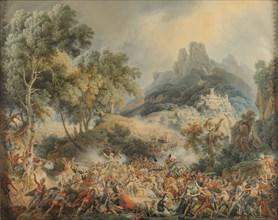 """Lejeune, """"Attaque du grand convoi ramenant les dames de la cour du roi Joseph en France"""""""