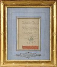 Morceau du Grand cordon de la Légion d'Honneur de Napoléon 1er, accompagné d'une attestation de provenance