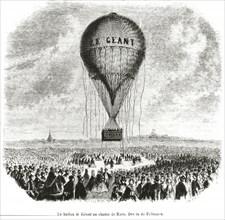 """Lancement du """"Géant"""" à Paris en 1863"""