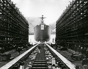 Lancement d'un Liberty Ship en 1942