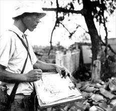 Hiroshima. Japonais faisant un croquis des ruines