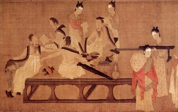 Yen-Li-Pen, Schoolgirls reading classical texts, detail