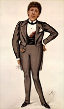 Drawing done in watercolour by Ape. Portrait of Oscar Wilde