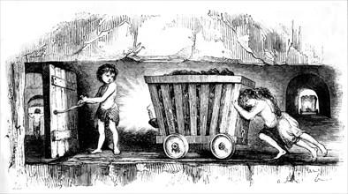 """Angleterre, travail des enfants dans les mines de houille in """"Le Magasin pittoresque"""""""