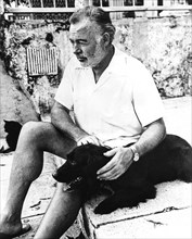 Ernest Hemingway and his dog